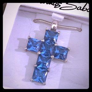 Thomas Sabo SS Large Blue Topaz Crystal Cross